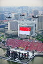 Flypast av Singapore den nationella flaggan Royaltyfria Foton
