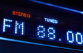 FM tuner radio display. Stereo digital frecuency station tuned. Royalty Free Stock Photo