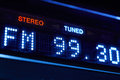 FM tuner radio display. Stereo digital frequency station tuned. Royalty Free Stock Photo