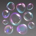 Foam bubbles. Realistic flying soap balls with rainbow reflections. 3D shampoo transparent glass spheres. Froth elements Royalty Free Stock Photo