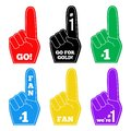 Foam finger fan hand glove . We are number 1. Vector Royalty Free Stock Photo