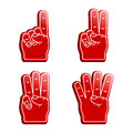 Foam fingers a set of four sporty counting from one to four Stock Photography