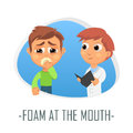 Foam at the mouth medical concept. Vector illustration.