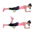 Foam roller exercises exercise explanation and execution with a trainer Stock Images