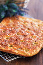 Focaccia from bran oatmeal with dried lavender rosemary and sea salt selective focus Royalty Free Stock Photography