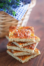 Focaccia from bran oatmeal with dried lavender rosemary and sea salt selective focus Royalty Free Stock Images
