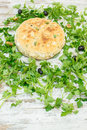 Focaccia bread with herbs and black olives viewed from above Royalty Free Stock Photo
