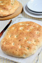 Focaccia bread with olives dill and rosemary Stock Image
