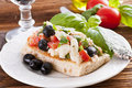 Focaccia with bruschetta Royalty Free Stock Photography