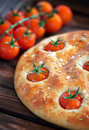 Focaccia with cherry tomatoes rosemary and sea salt selective focus Royalty Free Stock Photography