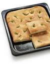 Focaccia, italian flat bread Stock Photos