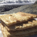 Focaccia on ligurian riviera near genoa is a typical salt cake in italy Royalty Free Stock Photos