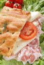 Focaccia whit bacon tomato end cheese Stock Photography
