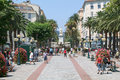 Foch square at ajaccio on the island of corsica france july people walking france Royalty Free Stock Photography
