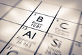 Focus on boron chemical element from the mendeleev periodic table Royalty Free Stock Image