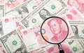 Focus on chinese currency focusing yuan against us and currencies background Royalty Free Stock Photo