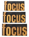 Focus concept in wood type Stock Photography