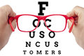 Focus customer customers spectacles concept red focusing on text on arranged as eye chart test letters outside field of view are Royalty Free Stock Photography