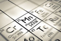Focus on manganese chemical element from the mendeleev periodic table Stock Images
