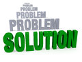 Focus on solution not problems sharp large shiny green in front of a row of plain gray blurring and receding into the distance Stock Image