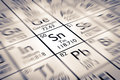 Focus on Tin Chemical Element Royalty Free Stock Photo