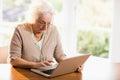 Focused senior woman using laptop Royalty Free Stock Photo