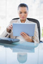 Focused sophisticated businesswoman holding tablet computer in bright office Royalty Free Stock Photos