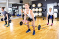 Focused team doing deadlift exercises with weights at fitness gym Royalty Free Stock Photo