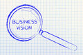 Focusing on business vision and management magnifying glass Stock Photography