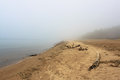Fog in the beach smoke spring day baltic sea Royalty Free Stock Image