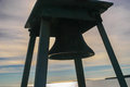 Fog bell at bass harbor head light maine tilted view of in silhouette see history of bells http uslhs org bells Stock Image