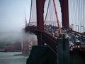 Fog creeping in over golden gate bridge heavy traffic san francisco california Royalty Free Stock Photos