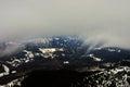 Fog descending over the valley a in romania Stock Photos