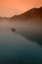 Fog floating over little east river the is located in the northern entrance of dongjiang lake scenic area it is a narrow lake with Royalty Free Stock Images