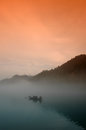Fog floating over little east river the is located in the northern entrance of dongjiang lake scenic area it is a narrow lake with Stock Image