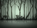 Fog forest near lake abstract dark illustration Royalty Free Stock Images