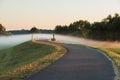 Fog layer over path of morning marine cascading walking frankfurt oder Stock Photos
