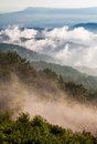 Fog and low clouds clear out of the blue ridge after a summer thunderstorm in shenandoah national park virginia Royalty Free Stock Photography