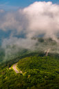 Fog and low clouds over skyline drive seen from little stony man cliffs in shenandoah national park virginia Stock Photo
