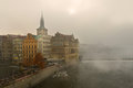 Fog over the river Vltava in Prague Stock Images