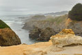 Fog over rugged terrane of mendocino headlands state park Stock Image