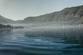 Fog over the sea and mountains Royalty Free Stock Photo
