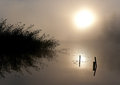Fog Sun Water Lake Royalty Free Stock Photography