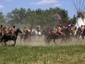 The fog of war crow agency montana usa – june reenactment by cavalry soldiers and american indians battle little bighorn known Royalty Free Stock Image