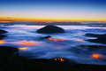 Foggy Aramaio valley at night with Muru peak Royalty Free Stock Photo