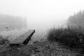 Foggy bridge in monochromatic landscape autumn lake scenery southern sweden view Stock Photo