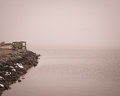 Foggy day at charlestown maryland pier a overlooking the north east river a in Royalty Free Stock Photography