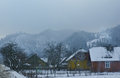 Foggy day mountain village carpathians ukraine Royalty Free Stock Photography