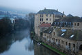 Foggy evening in england city of bath river avon Stock Photo