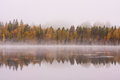 Foggy lake scape and vibrant autumn colors in trees Royalty Free Stock Photo